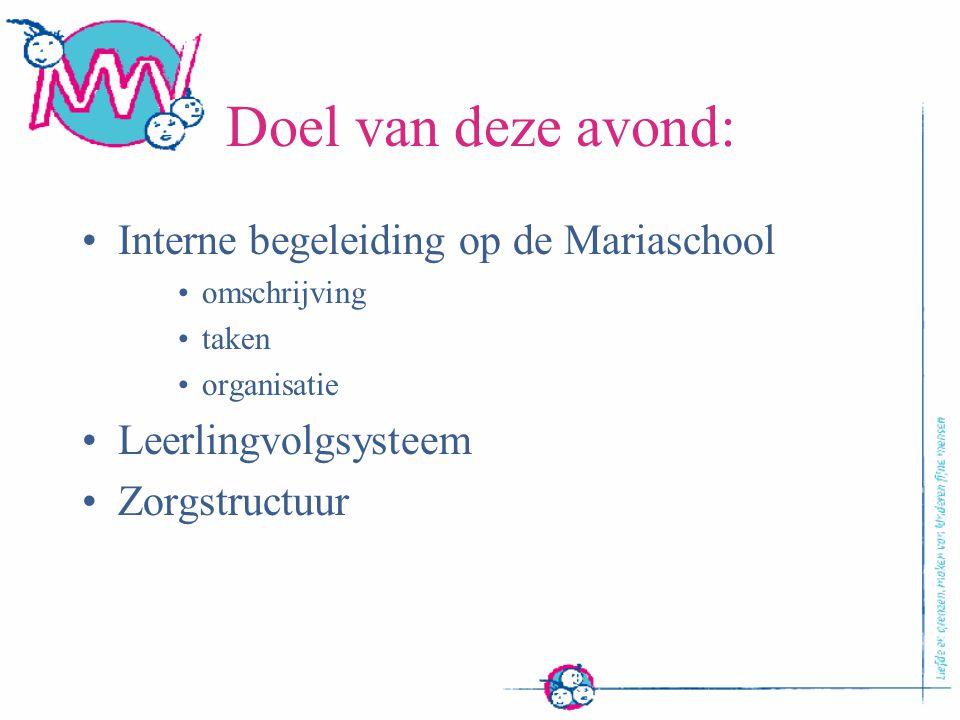 Doel van deze avond: Interne begeleiding op de Mariaschool omschrijving taken organisatie Leerlingvolgsysteem Zorgstructuur