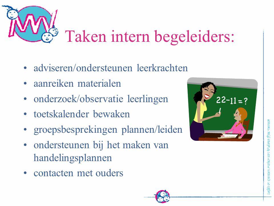 Taken intern begeleiders: adviseren/ondersteunen leerkrachten aanreiken materialen onderzoek/observatie leerlingen toetskalender bewaken groepsbesprek