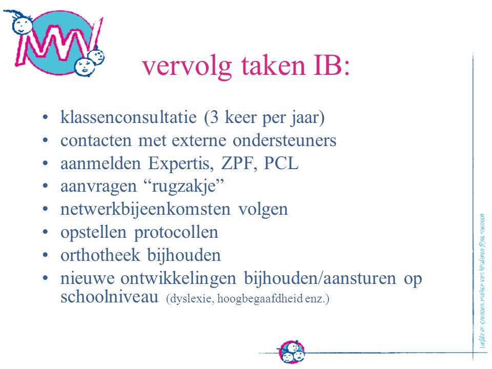 """vervolg taken IB: klassenconsultatie (3 keer per jaar) contacten met externe ondersteuners aanmelden Expertis, ZPF, PCL aanvragen """"rugzakje"""" netwerkbi"""