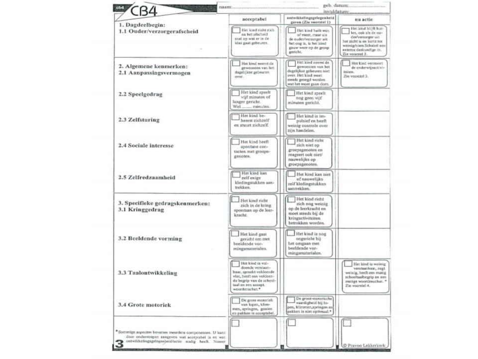 Leerlingvolgsysteem: Volgens toetskalender Sociaal-emotioneel: –CB4 (na 1 maand op school) –Pravoolijst (2 maal per jaar, groep 1 t/m 8)