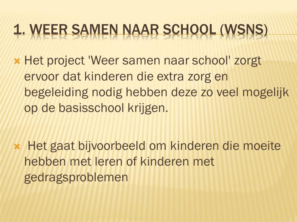  Het project 'Weer samen naar school' zorgt ervoor dat kinderen die extra zorg en begeleiding nodig hebben deze zo veel mogelijk op de basisschool kr