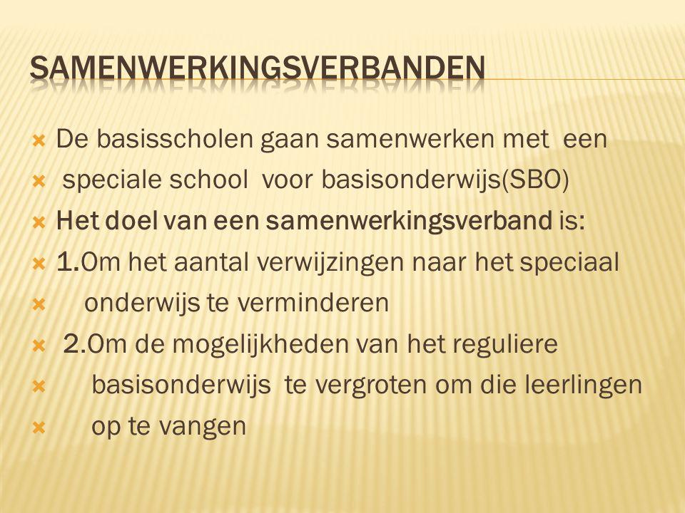  De basisscholen gaan samenwerken met een  speciale school voor basisonderwijs(SBO)  Het doel van een samenwerkingsverband is:  1.Om het aantal ve