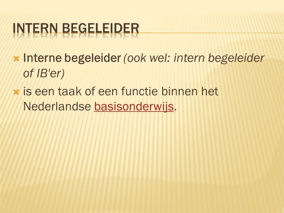  Interne begeleider (ook wel: intern begeleider of IB'er)  is een taak of een functie binnen het Nederlandse basisonderwijs.basisonderwijs