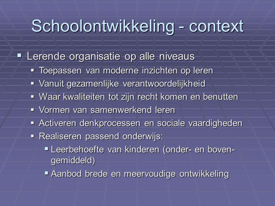 Schoolontwikkeling - context  Lerende organisatie op alle niveaus  Toepassen van moderne inzichten op leren  Vanuit gezamenlijke verantwoordelijkhe
