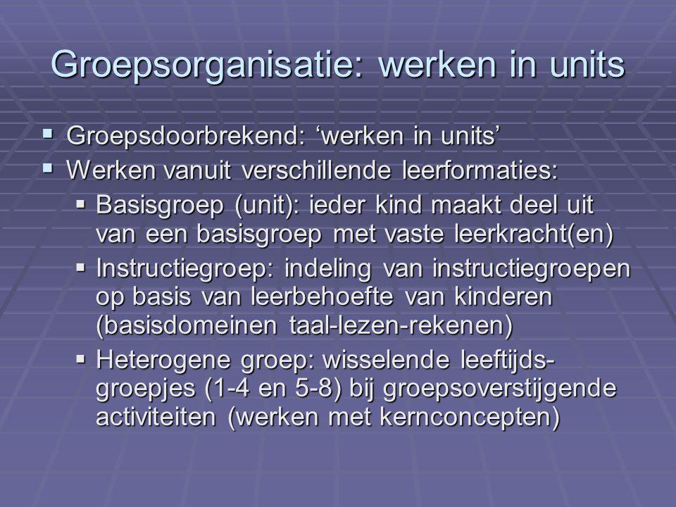 Groepsorganisatie: werken in units  Groepsdoorbrekend: 'werken in units'  Werken vanuit verschillende leerformaties:  Basisgroep (unit): ieder kind