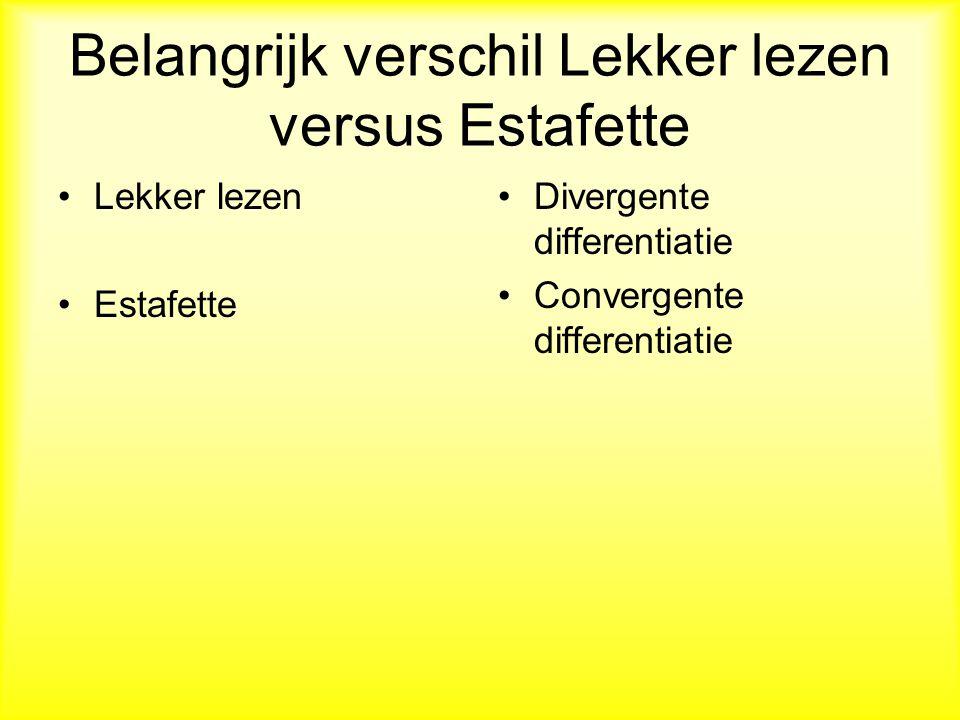 Belangrijk verschil Lekker lezen versus Estafette Lekker lezen Estafette Divergente differentiatie Convergente differentiatie