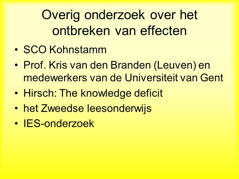 Overig onderzoek over het ontbreken van effecten SCO Kohnstamm Prof.
