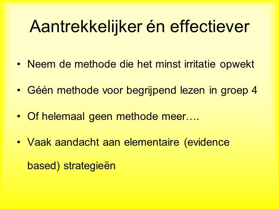 Aantrekkelijker én effectiever Neem de methode die het minst irritatie opwekt Géén methode voor begrijpend lezen in groep 4 Of helemaal geen methode meer….