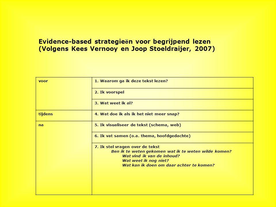 Evidence-based strategie ë n voor begrijpend lezen (Volgens Kees Vernooy en Joop Stoeldraijer, 2007) voor1.