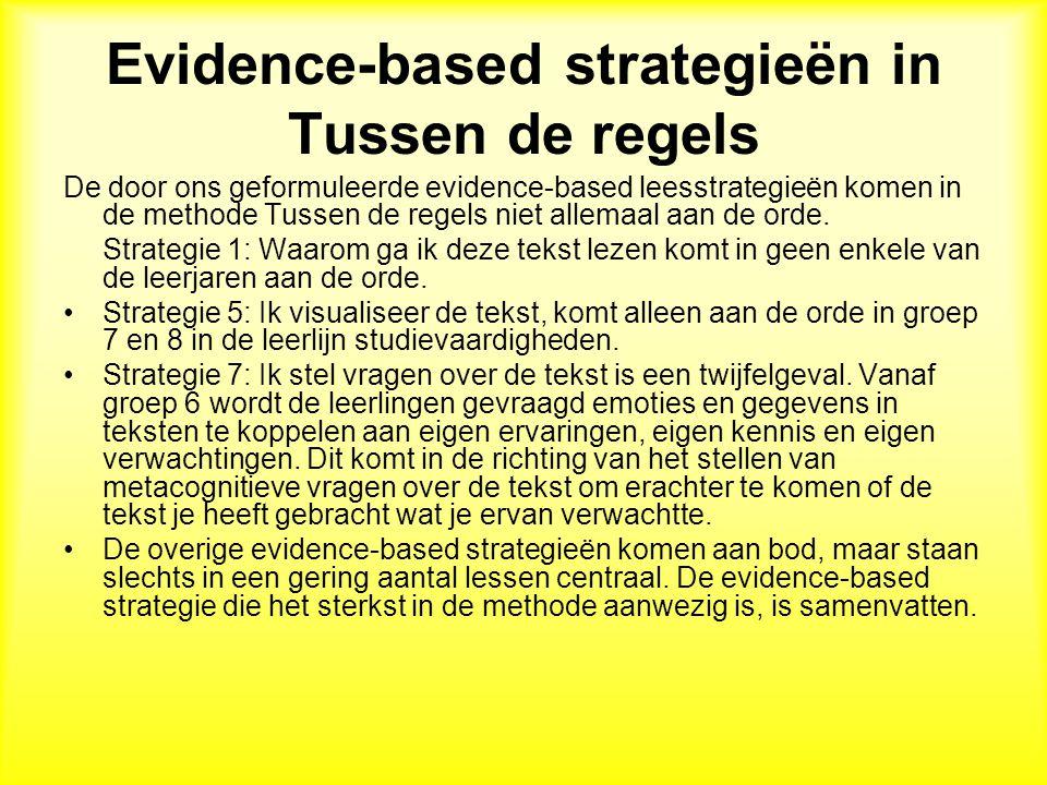 Evidence-based strategieën in Tussen de regels De door ons geformuleerde evidence-based leesstrategieën komen in de methode Tussen de regels niet allemaal aan de orde.
