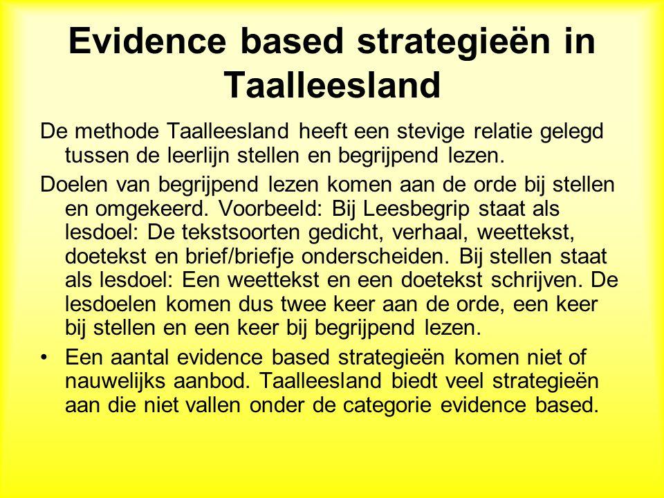 Evidence based strategieën in Taalleesland De methode Taalleesland heeft een stevige relatie gelegd tussen de leerlijn stellen en begrijpend lezen.