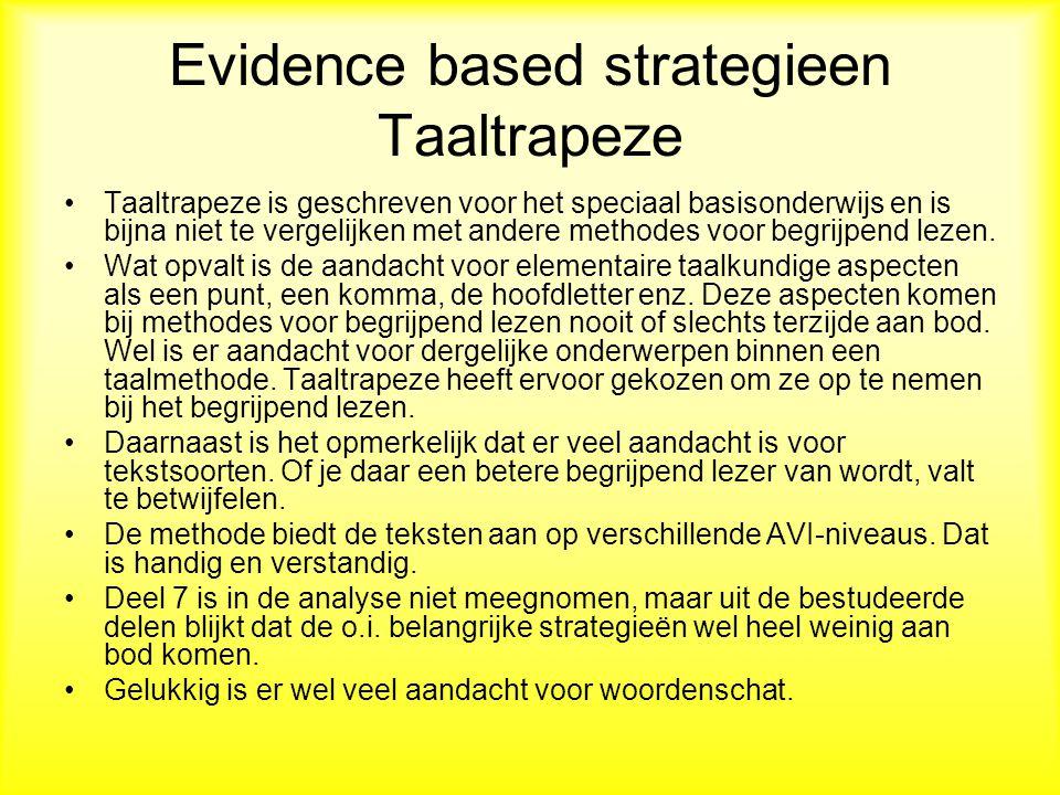 Evidence based strategieen Taaltrapeze Taaltrapeze is geschreven voor het speciaal basisonderwijs en is bijna niet te vergelijken met andere methodes voor begrijpend lezen.