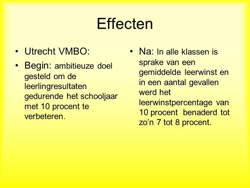 Effecten Utrecht VMBO: Begin: ambitieuze doel gesteld om de leerlingresultaten gedurende het schooljaar met 10 procent te verbeteren.