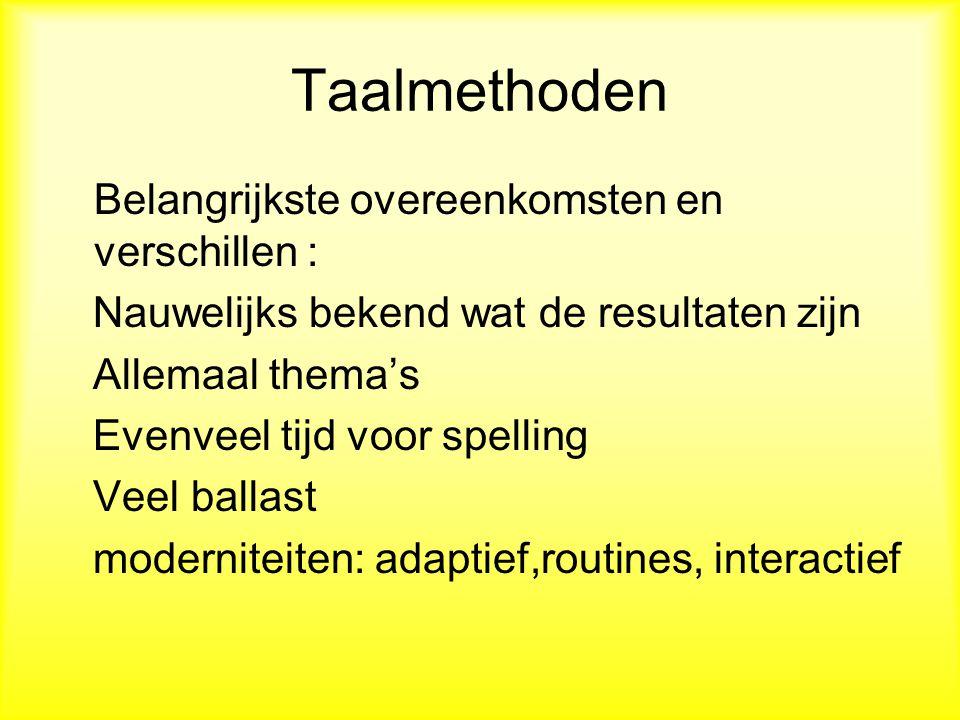 Taalmethoden Véél differentiatiemogelijkheden Toets: taalbeschouwing, woordenschat