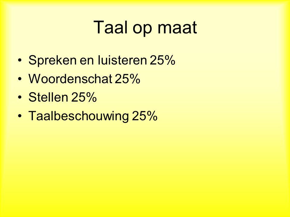 Taal op maat Spreken en luisteren 25% Woordenschat 25% Stellen 25% Taalbeschouwing 25%