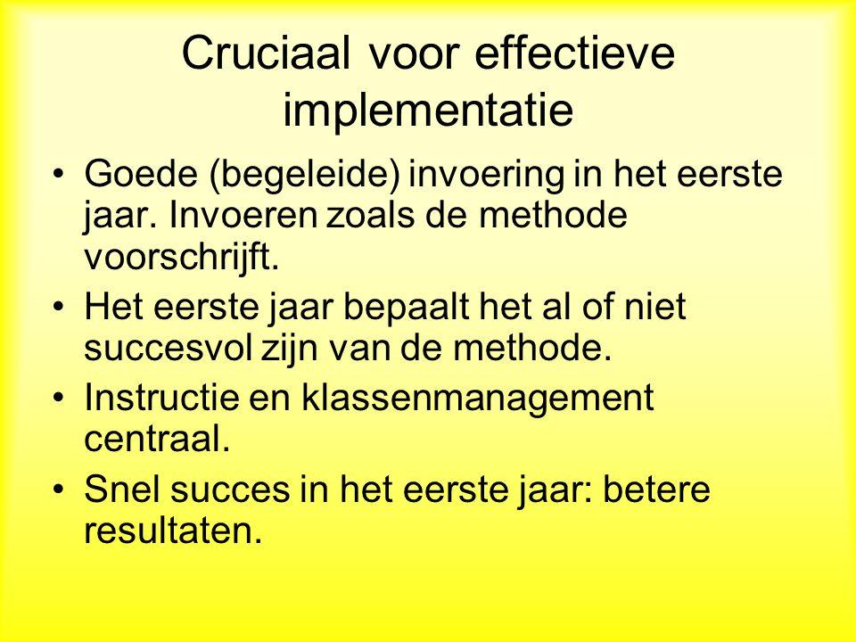 Cruciaal voor effectieve implementatie Goede (begeleide) invoering in het eerste jaar.
