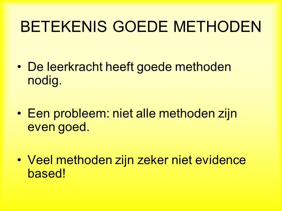 BETEKENIS GOEDE METHODEN De leerkracht heeft goede methoden nodig.
