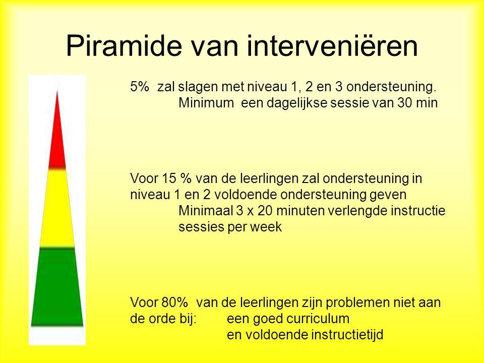 Piramide van interveniëren 5% zal slagen met niveau 1, 2 en 3 ondersteuning.