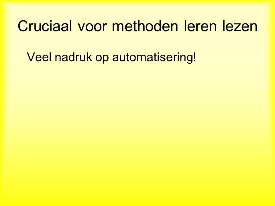 Cruciaal voor methoden leren lezen Veel nadruk op automatisering!