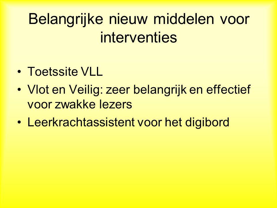 Belangrijke nieuw middelen voor interventies Toetssite VLL Vlot en Veilig: zeer belangrijk en effectief voor zwakke lezers Leerkrachtassistent voor het digibord