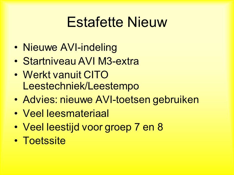 Estafette Nieuw Nieuwe AVI-indeling Startniveau AVI M3-extra Werkt vanuit CITO Leestechniek/Leestempo Advies: nieuwe AVI-toetsen gebruiken Veel leesmateriaal Veel leestijd voor groep 7 en 8 Toetssite