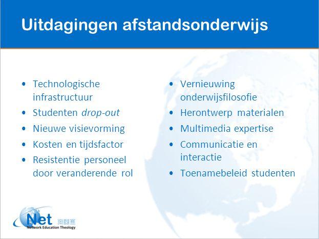 Technologische infrastructuur Studenten drop-out Nieuwe visievorming Kosten en tijdsfactor Resistentie personeel door veranderende rol Vernieuwing ond