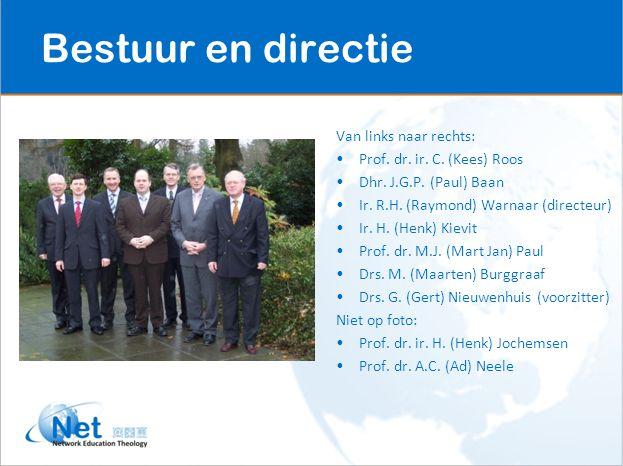 Van links naar rechts: Prof. dr. ir. C. (Kees) Roos Dhr. J.G.P. (Paul) Baan Ir. R.H. (Raymond) Warnaar (directeur) Ir. H. (Henk) Kievit Prof. dr. M.J.