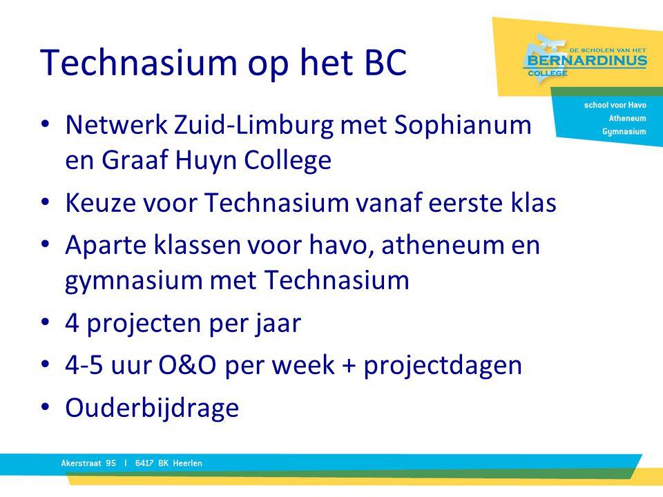 Technasium op het BC Netwerk Zuid-Limburg met Sophianum en Graaf Huyn College Keuze voor Technasium vanaf eerste klas Aparte klassen voor havo, athene