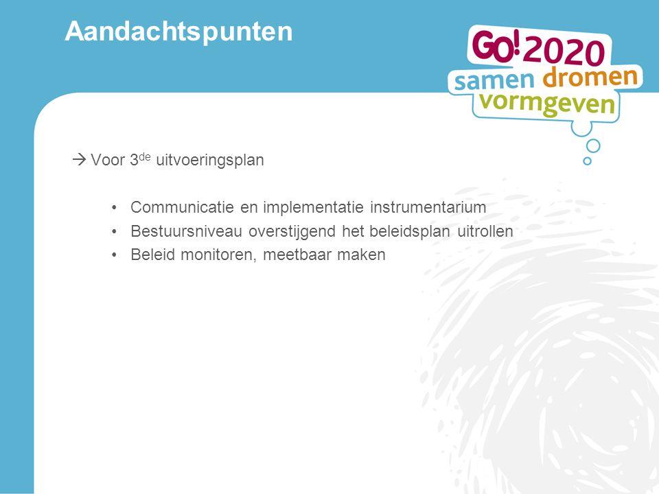 Aandachtspunten  Voor 3 de uitvoeringsplan Communicatie en implementatie instrumentarium Bestuursniveau overstijgend het beleidsplan uitrollen Beleid monitoren, meetbaar maken