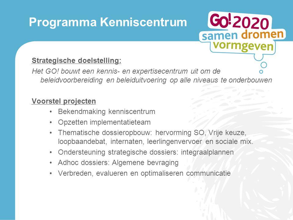 Programma Kenniscentrum Strategische doelstelling: Het GO.