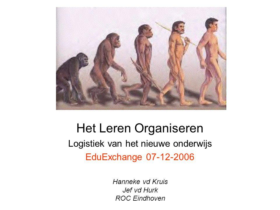 Het Leren Organiseren Logistiek van het nieuwe onderwijs EduExchange 07-12-2006 Hanneke vd Kruis Jef vd Hurk ROC Eindhoven