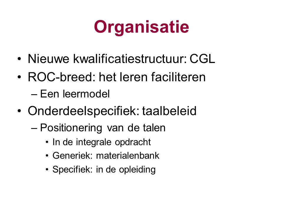 Organisatie Nieuwe kwalificatiestructuur: CGL ROC-breed: het leren faciliteren –Een leermodel Onderdeelspecifiek: taalbeleid –Positionering van de tal
