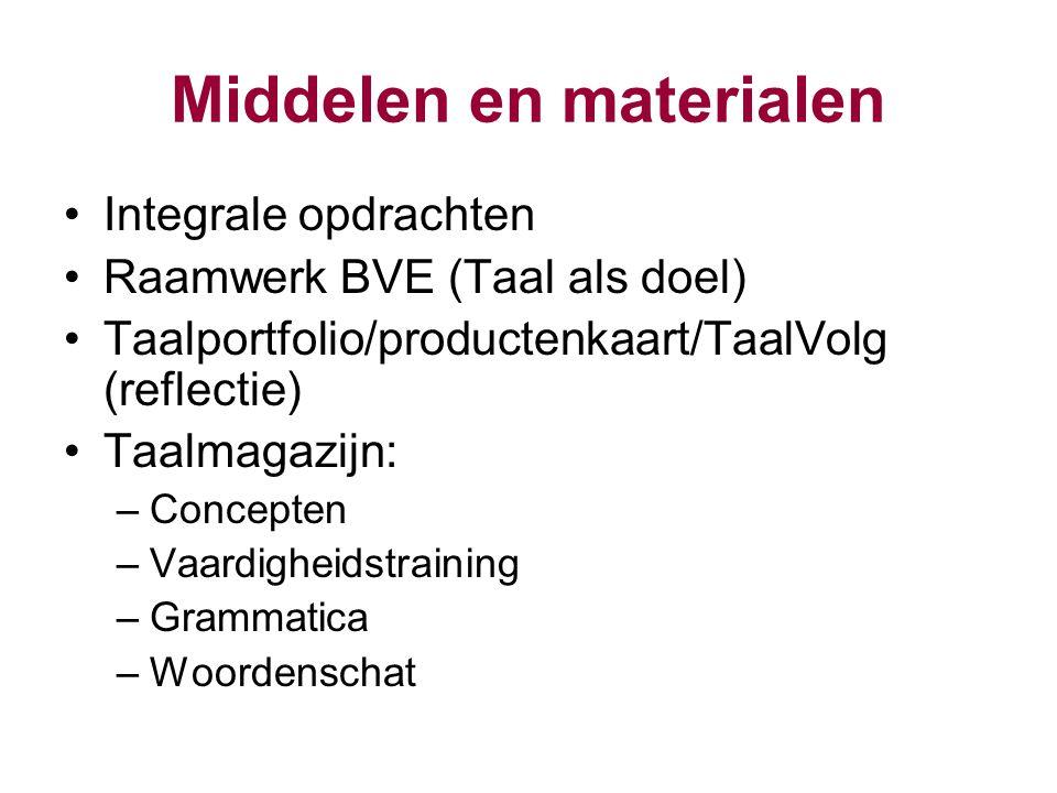 Middelen en materialen Integrale opdrachten Raamwerk BVE (Taal als doel) Taalportfolio/productenkaart/TaalVolg (reflectie) Taalmagazijn: –Concepten –V
