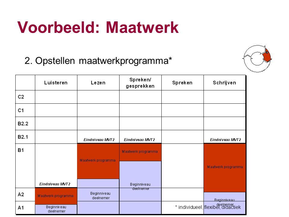 Voorbeeld: Maatwerk 2. Opstellen maatwerkprogramma* * individueel, flexibel, didactiek