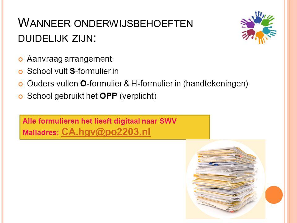 W ANNEER ONDERWIJSBEHOEFTEN DUIDELIJK ZIJN : Aanvraag arrangement School vult S-formulier in Ouders vullen O-formulier & H-formulier in (handtekeninge