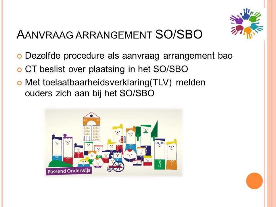 A ANVRAAG ARRANGEMENT SO/SBO Dezelfde procedure als aanvraag arrangement bao CT beslist over plaatsing in het SO/SBO Met toelaatbaarheidsverklaring(TL