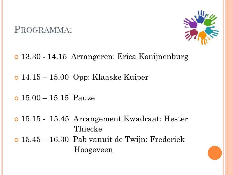 P ROGRAMMA : 13.30 - 14.15 Arrangeren: Erica Konijnenburg 14.15 – 15.00 Opp: Klaaske Kuiper 15.00 – 15.15 Pauze 15.15 - 15.45 Arrangement Kwadraat: He