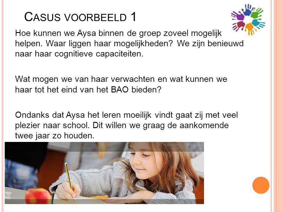 C ASUS VOORBEELD 1 Hoe kunnen we Aysa binnen de groep zoveel mogelijk helpen. Waar liggen haar mogelijkheden? We zijn benieuwd naar haar cognitieve ca