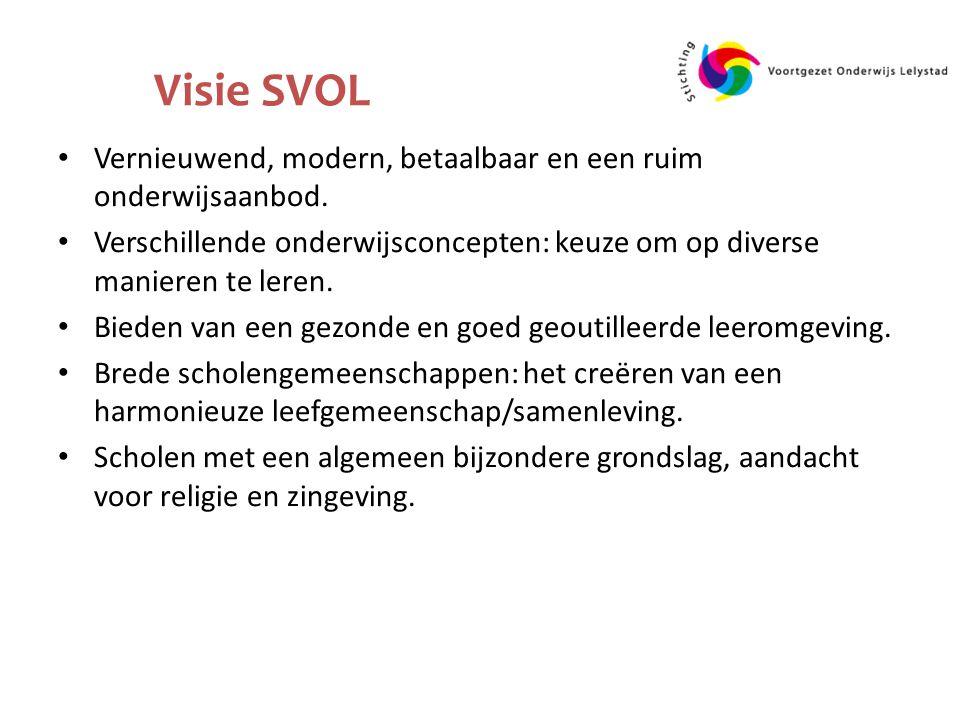 Visie SVOL Vernieuwend, modern, betaalbaar en een ruim onderwijsaanbod.