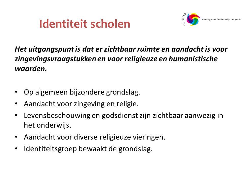Identiteit scholen Het uitgangspunt is dat er zichtbaar ruimte en aandacht is voor zingevingsvraagstukken en voor religieuze en humanistische waarden.
