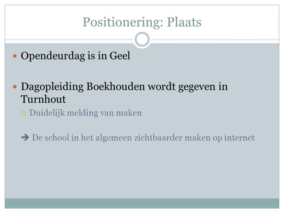 Positionering: Plaats Opendeurdag is in Geel Dagopleiding Boekhouden wordt gegeven in Turnhout  Duidelijk melding van maken  De school in het algeme