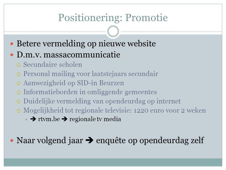 Positionering: Promotie Betere vermelding op nieuwe website D.m.v. massacommunicatie  Secundaire scholen  Personal mailing voor laatstejaars secunda