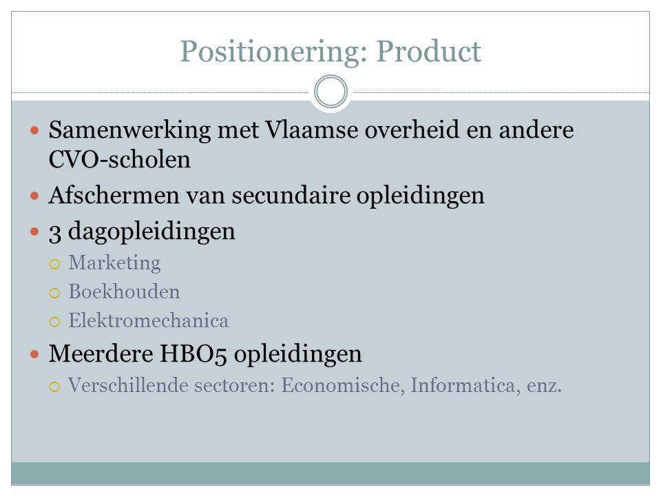 Positionering: Product Samenwerking met Vlaamse overheid en andere CVO-scholen Afschermen van secundaire opleidingen 3 dagopleidingen  Marketing  Bo