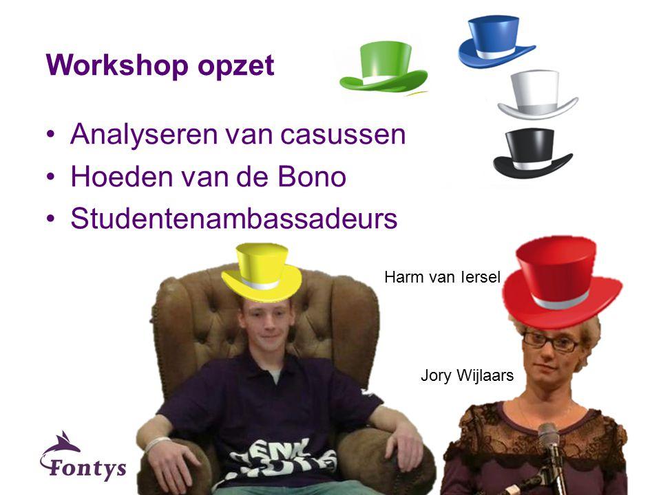 Analyseren van casussen Hoeden van de Bono Studentenambassadeurs Workshop opzet Harm van Iersel Jory Wijlaars