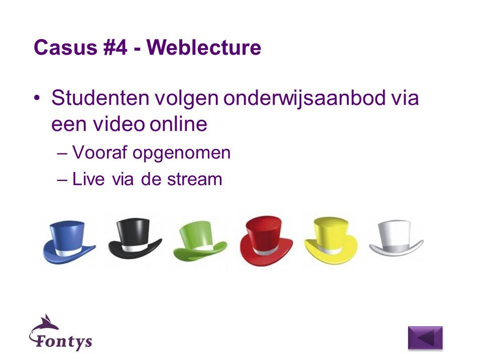 Studenten volgen onderwijsaanbod via een video online –Vooraf opgenomen –Live via de stream Casus #4 - Weblecture
