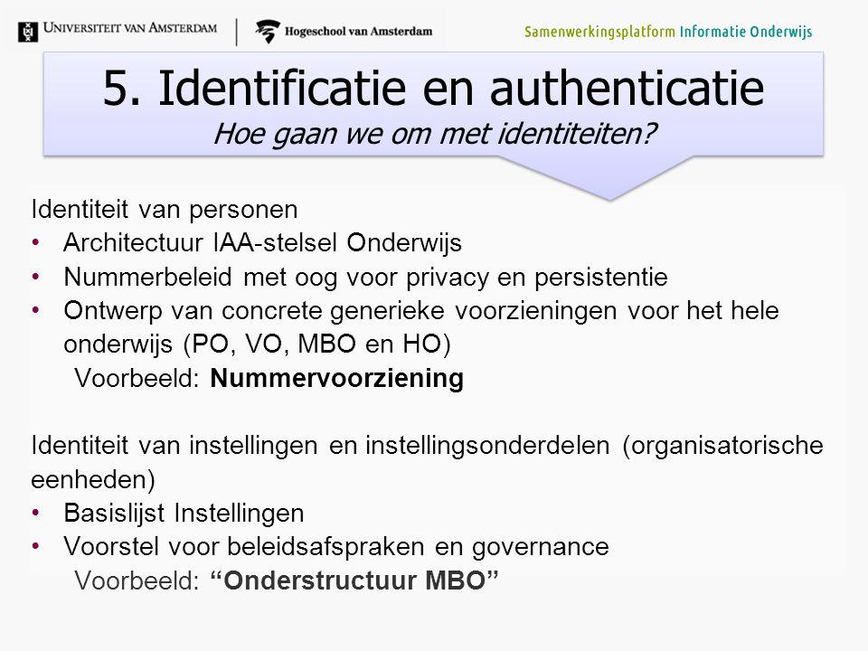 Identiteit van personen Architectuur IAA-stelsel Onderwijs Nummerbeleid met oog voor privacy en persistentie Ontwerp van concrete generieke voorzienin