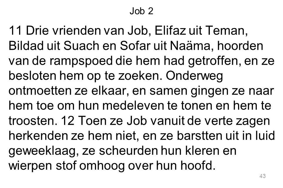 Job 2 11 Drie vrienden van Job, Elifaz uit Teman, Bildad uit Suach en Sofar uit Naäma, hoorden van de rampspoed die hem had getroffen, en ze besloten