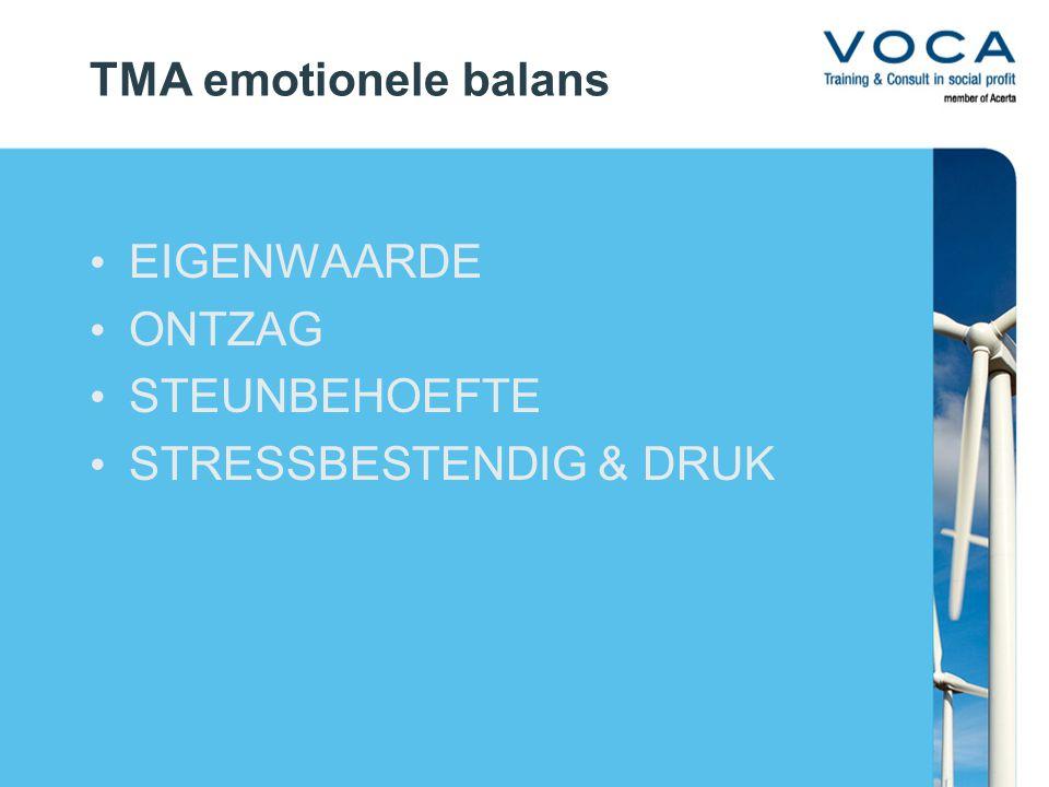 TMA emotionele balans EIGENWAARDE ONTZAG STEUNBEHOEFTE STRESSBESTENDIG & DRUK