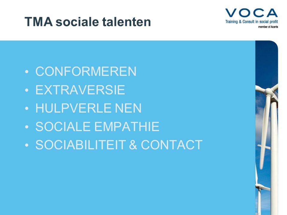 TMA sociale talenten CONFORMEREN EXTRAVERSIE HULPVERLE NEN SOCIALE EMPATHIE SOCIABILITEIT & CONTACT