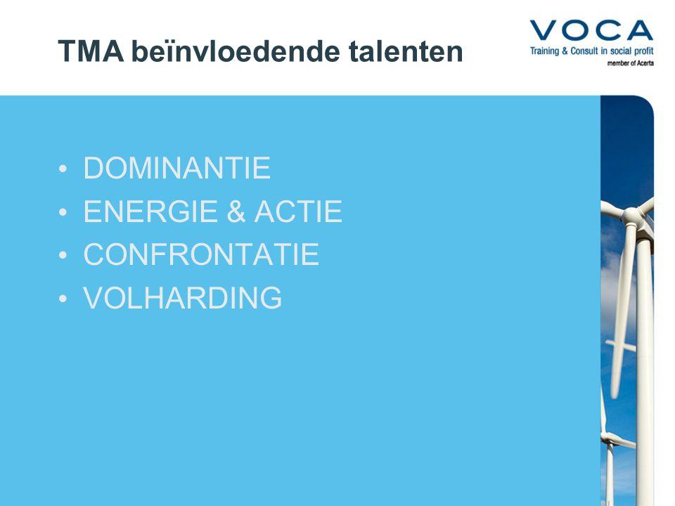 TMA beïnvloedende talenten DOMINANTIE ENERGIE & ACTIE CONFRONTATIE VOLHARDING